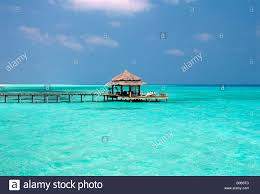 100 Kuramathi Island Maldives Jetty At Blue Lagoon Resort Stock