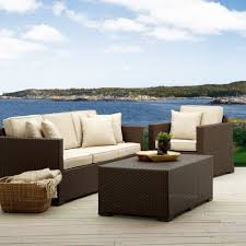 Affordable 3 Piece Modern Patio Furniture Set Including Sofa Chair And Coffee Table