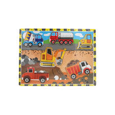 100 Construction Trucks Wooden Puzzle Board VIP Educational