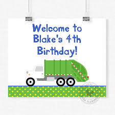 98 Garbage Truck Party Supplies Welcome Sign Birthday Sign Etsy