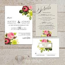 KATEY SUITE Botanical Wedding Invitation Rustic Blush Roses Classic Vintage Garden Spring Flowers