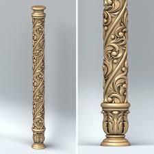 3d Model Carved Column Sculpture In 2019 Pillar Design