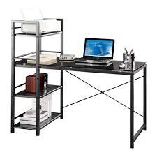 Techni Mobili Computer Desk With Storage by Techni Mobili Kieran Glass Top Wood Computer Desk In Dark Honey In