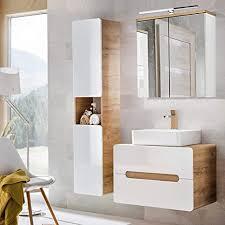 lomadox badezimmermöbel set mit keramik waschtisch mit 80cm unterschrank hochglanz weiß mit wotaneiche hochschrank und led spiegelschrank