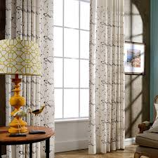 Linen Curtains Modern Embroidered Rustic Bird Design American Country Style Panel Kitchen Window Short