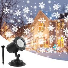 Christmas Projector Lights Amicool Outdoor Halloween Projector Lights Waterproof LED Rotating Night Lights Snowflake Spotlight With 16 Slides For