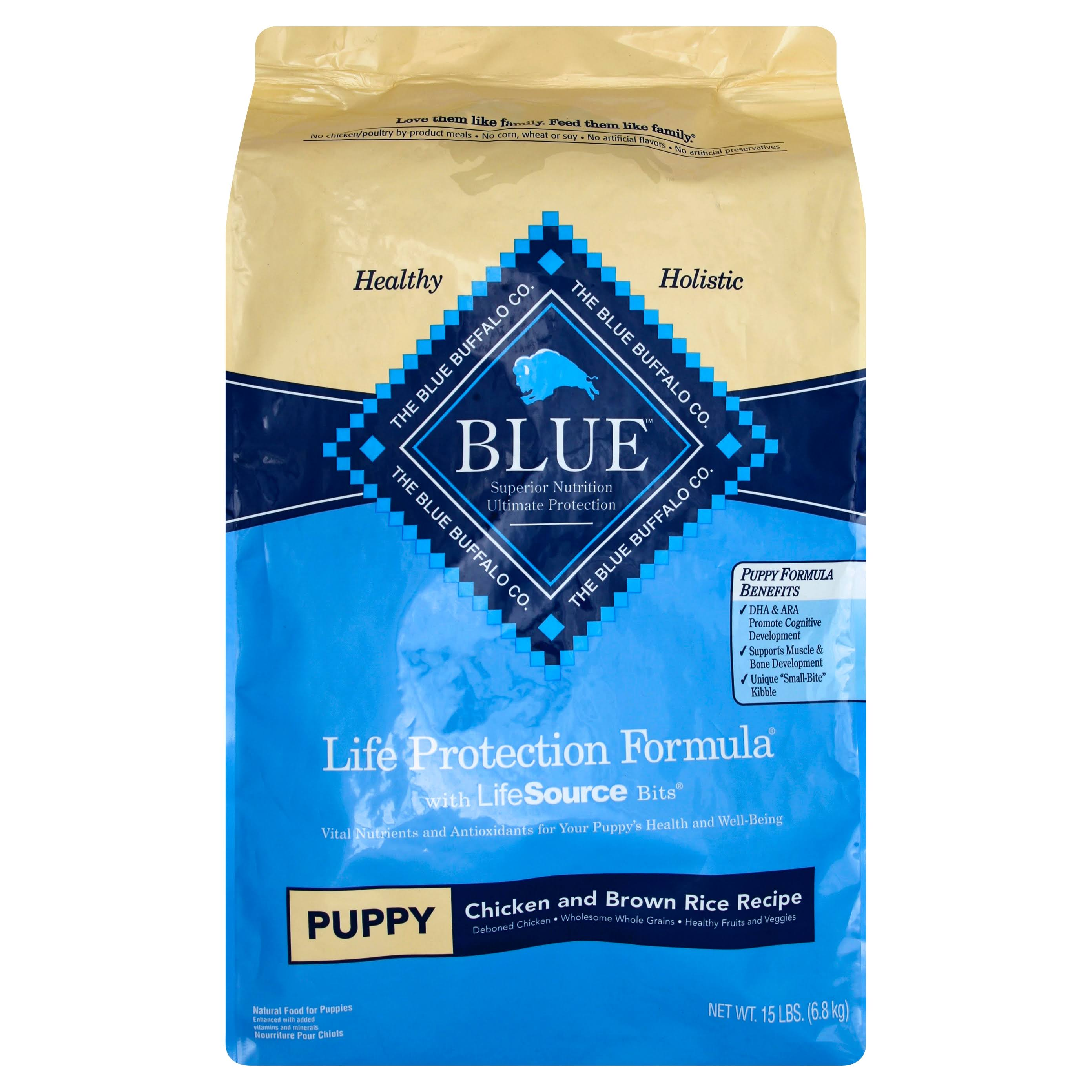 Blue Buffalo Life Protection Dry Puppy Food - Chicken and Brown Rice, 15lbs