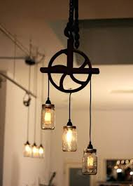 Mason Jar Kitchen Lights And Pendant Light Fixture Pulley Chandelier With