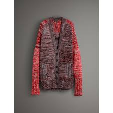 cashmere wool blend mouliné oversized cardigan in red black