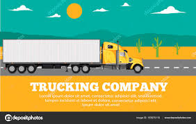 100 Yellow Freight Trucking Company Company Banner With Container Truck Stock Vector
