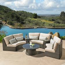 Outdoor Deep Seating Sectional Sofa by Mission Hills Sidney 6 Piece Crescent Sectional Set