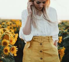 yellow skirt and yellow flowers simplicity