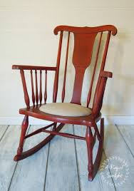 SOLD Antique Red Rocking Chair, Upholstered Linen Seat, Nursery ...