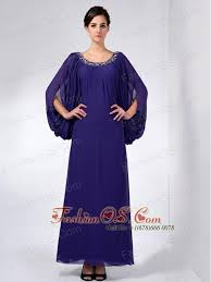 Modest Purple Mother Of The Bride Dress Column Scoop Beading Ankle Length Chiffon