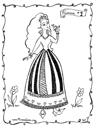 Princess Coloring Page 1 Sings With A Bird