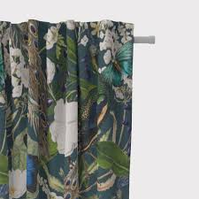 schöner leben vorhang pfau blüten petrol 245cm oder wunschlänge gardinen aufhängung smok schlaufenband