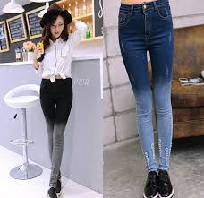 W30966H Hot Korea Style Women Denim Jeans Tight Gradient Skinny For Ladies 2015