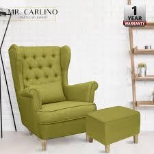 Coupon FriendlyDUKE Canvas Fabric Sofa Wing Chair + Stools FREE Chair  Cushion