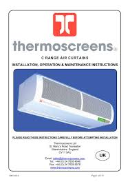 Berner Air Curtain Manual by Thermoscreen Door Heaters U0026