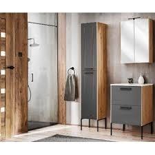 badezimmer set 3 tlg madera 60cm waschplatz hoch spiegelschrank graphitgrau eiche