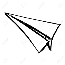 Paper Plane Icon Isolated White Hand Drawing Sketch Vector