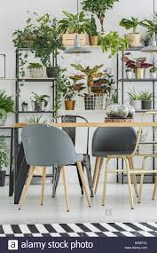 grauen stühlen an den hölzernen tisch in floralen esszimmer