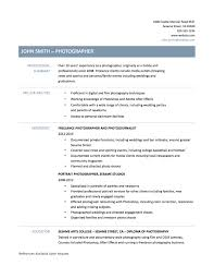 Photographer Resume Sample Objective Sidemcicekcom With Template Example E6YZ3