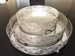 spiegeltablett rund form serviertablett glas metall deko