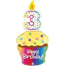 happy 3rd birthday cupcake supershape foil balloon 500 500
