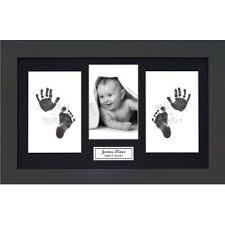 baby babyrice cadre photo en bois rustique avec kit encre pour