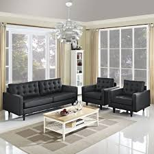 Empress Sofa And Armchairs Set Of 3 Black By Modern Living