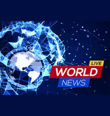 Breaking News Banner On Blue Glowing Background Vector Image
