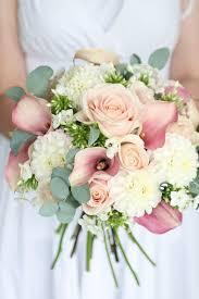 Summer wedding bouquet Dahlia sweet avalanche roses phlox calla