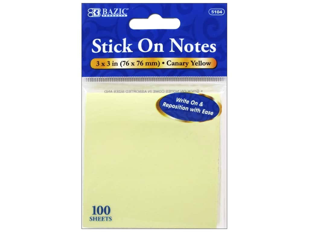 "Bazic Stick on Notes - Yellow, 3"" x 3"", 100ct"
