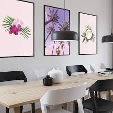 bilder drucke 3er set kokosnuss palmen orchideen poster
