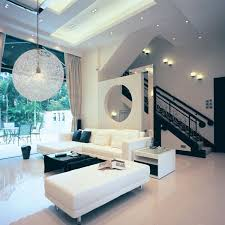black and white living room design with modern woven pendant l