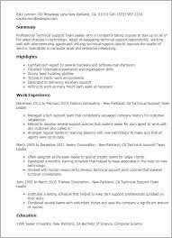 Team Leader Resume Example Lovely Professional Technical Support Templates To