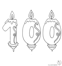 Coloring Page of Number e Hundred Birthday Candle to