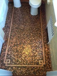 Tiling A Bathroom Floor Around A Toilet by Cents And Sensibility How To Install A Copper Penny Floor