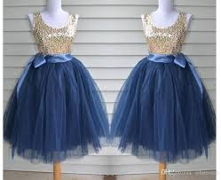 Lovely Navy Blue Tulle Flower Girl Dresses With Champagne Sequins
