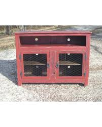 Barn Red Rustic Pallet TV Stand Chicken Wire Doors Sideboard Reclaimed Wood