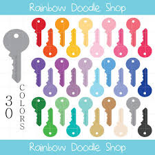 Key Clipart House Keys Colorful Clip Art For Scrapbooking Digital Round Head Universal