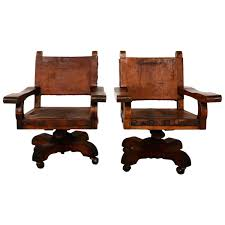Mexican Leather Upholstered Mahogany Office Chairs