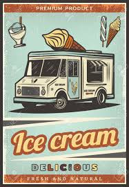 100 Ice Cream Truck Products Vintage Colored Fresh Poster With Sweet Sundae