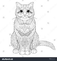 Ethnic Decorative Doodle Cat Coloring Book Page For Adults Vector Illustration