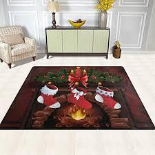 de isaoa großer rutschfester teppich weihnachts