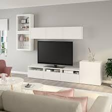 bestå tv komb mit vitrinentüren weiß lappviken klarglas weiß 300x42x211 cm