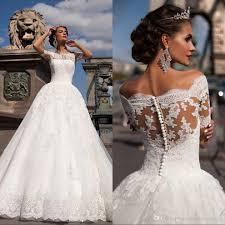 discount vintage lace wedding dresses 2017 off the shoulder