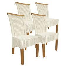 esszimmer stühle set ecru rattanstühle perth 4 stück sitzkissen leinen weiß