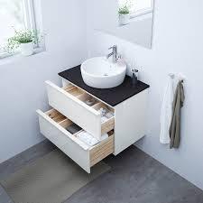 godmorgon waschbeckenschrank 2 schubl hochglanz weiß 80x47x58 cm